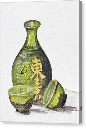 Japanese Rice Wine - Sake Canvas Print by Irina Gromovaja
