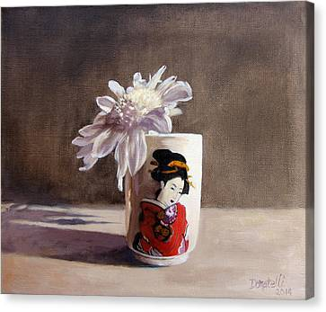 Japanese Saki Cup With Chrysanthemum Canvas Print by Kathryn Donatelli