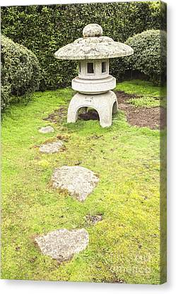 Japanese Stone Lantern Hamilton Gardens New Zealand Canvas Print by Colin and Linda McKie