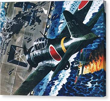 Aircraft Carrier Canvas Print - Japanese Suicide Attack On American by Wilf Hardy