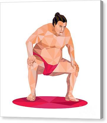 Japanese Sumo Wrestler Squat Low Polygon Canvas Print by Aloysius Patrimonio