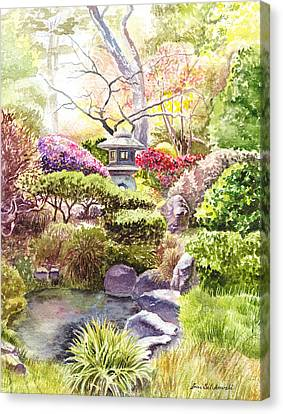 Canvas Print featuring the painting San Francisco Golden Gate Park Japanese Tea Garden  by Irina Sztukowski