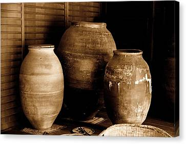 Bamboo House Canvas Print - Japanese Tea Urns by Scott Hill