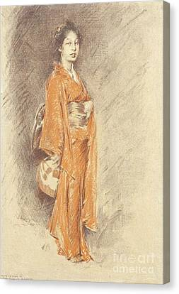 Japanese Woman In Kimono Canvas Print by Pg Reproductions