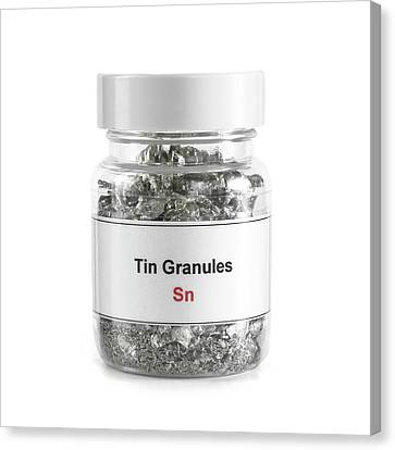 Jar Containing Tin Granules Canvas Print by Science Photo Library