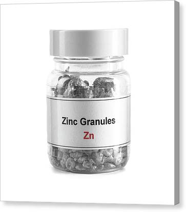 Sacrificial Canvas Print - Jar Containing Zinc Granules by Science Photo Library