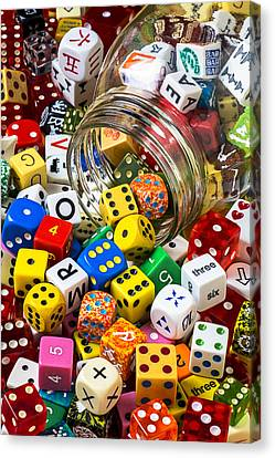 Jar Of Colorful Dice Canvas Print by Garry Gay