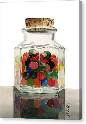 Canvas Print featuring the painting Jar Of Jelly Bellies by Ferrel Cordle