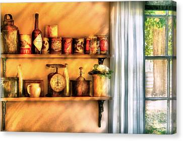 Jars - Kitchen Shelves Canvas Print by Mike Savad