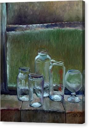 Jars On Summer Windowsil Canvas Print