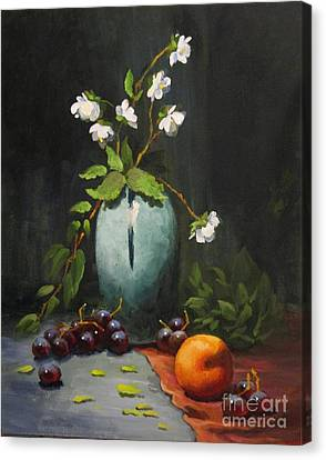 Canvas Print featuring the painting Jasmine And Peach by Carol Hart