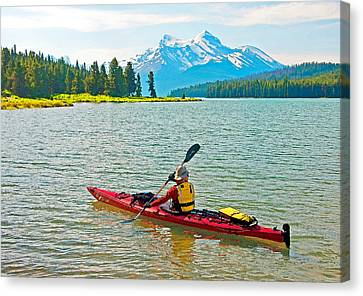 Jasper Park Kayaker Canvas Print by Dennis Cox WorldViews