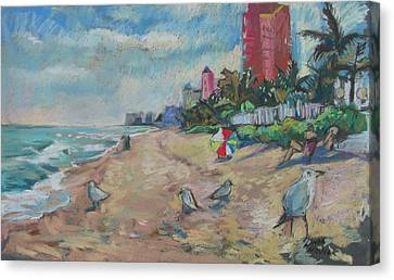 Jaunty Beach Birds Canvas Print