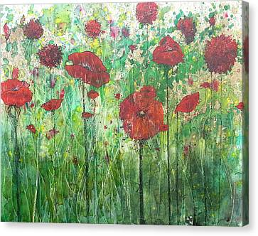 Canvas Print featuring the painting Java Poppy Field by Christy  Freeman