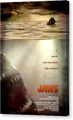 Jaws Custom Poster Canvas Print by Jeff Bell