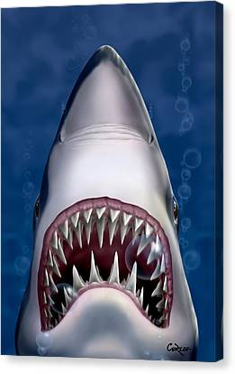 Jaws Great White Shark Art Canvas Print by Walt Curlee
