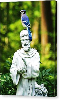 Jay On Statue Canvas Print by Al Fritz