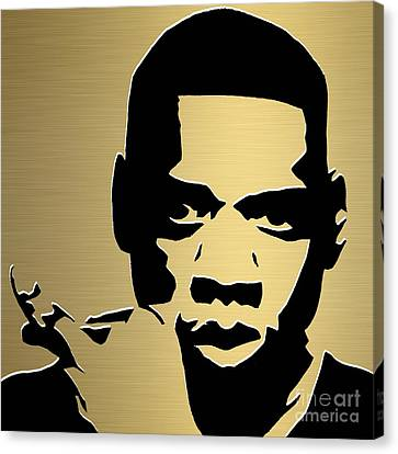 Jay Z Canvas Print - Jay Z Gold Series by Marvin Blaine