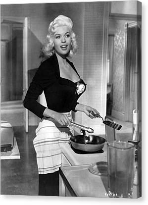 Mansfield Canvas Print - Jayne Mansfield Showing Off Cooking Skill by Retro Images Archive