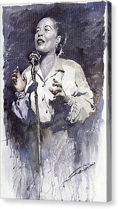 Jazz Billie Holiday Lady Sings The Blues Canvas Print by Yuriy  Shevchuk
