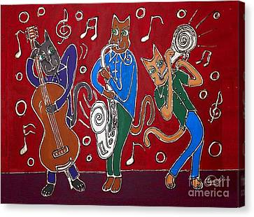 Jazz Cat Trio Canvas Print by Cynthia Snyder