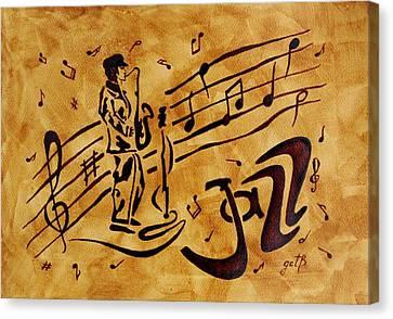 Jazz Coffee Painting Canvas Print by Georgeta  Blanaru