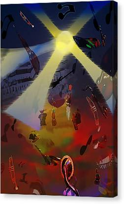 Canvas Print featuring the digital art Jazz Fest II by Cathy Anderson