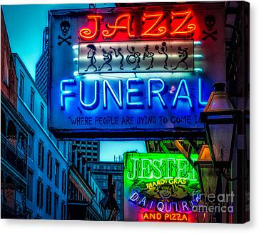 Jazz Funeral And Jester On Bourbon St. Canvas Print