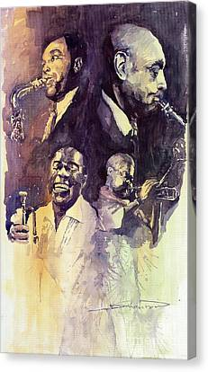 Armstrong Canvas Print - Jazz Legends Parker Gillespie Armstrong  by Yuriy  Shevchuk