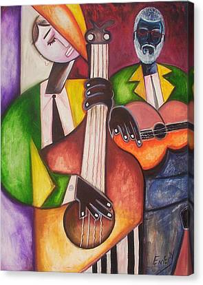 Canvas Print featuring the painting Jazz Men by Emery Franklin