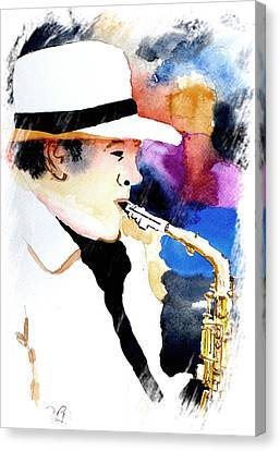 Canvas Print featuring the painting Jazz Player by Steven Ponsford
