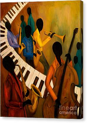 Jazz Quintet And Friends Canvas Print by Larry Martin
