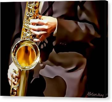 Jazz Sax Player Canvas Print by Alexandra Jordankova