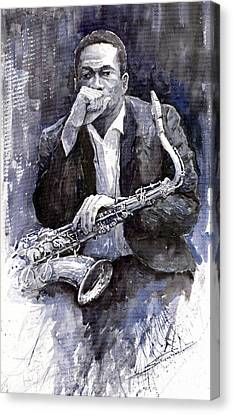 Jazz Saxophonist John Coltrane Black Canvas Print