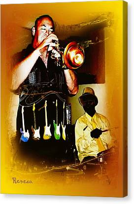 Jazz Trumpet And Drums Canvas Print by Sadie Reneau