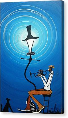 Jazz With My Dog Canvas Print by Guilbeaux Gallery