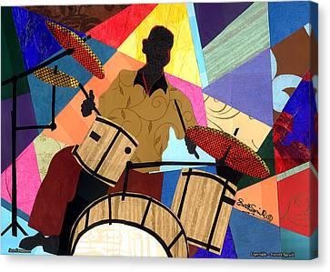 Jazzy Drummer Canvas Print by Everett Spruill
