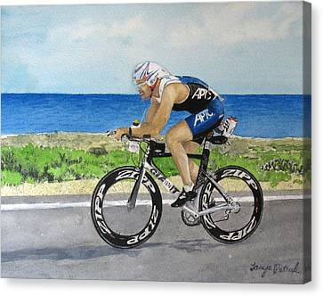 J.c Cycling In Ironman Cancun Canvas Print by Tanya Petruk