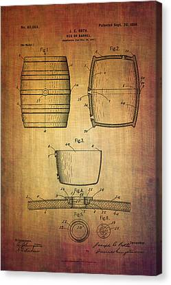 J.c.roth Beer Keg Patent From 1898 Canvas Print by Eti Reid