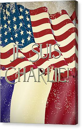 Je Suis Charlie Canvas Print by Paulette B Wright