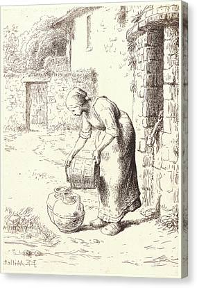 Jean-françois Millet French, 1814 - 1875. Woman Emptying Canvas Print by Litz Collection