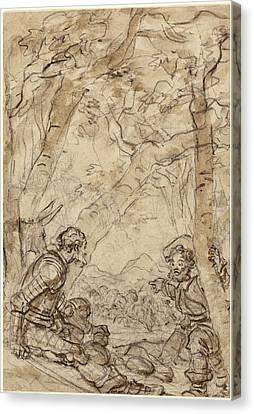 Jean-honoré Fragonard, Don Quixote And Sancho Panza Canvas Print