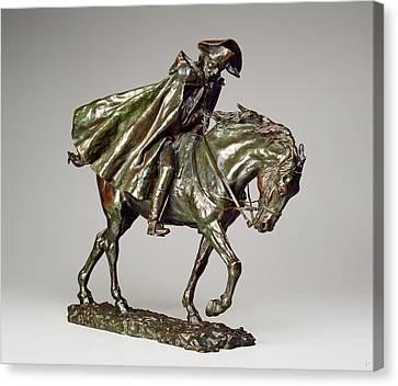 Jean-louis-ernest Meissonier, Horseman In A Storm Canvas Print by Litz Collection