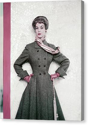 Jean Patchett Wears A Paris Collections Coat Canvas Print by Horst P. Horst