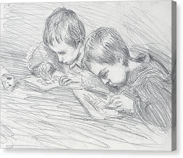 Jean Pierre Hoschede And Michel Monet Canvas Print by Claude Monet