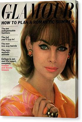 Jean Shrimpton On The Cover Of Glamour Canvas Print by David Bailey