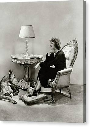Jeanette Macdonald With A Great Dane Dog Canvas Print by Lusha Nelson