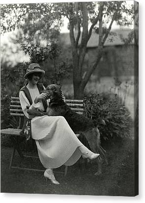 Jeanne Eagels Sitting Down On A Park Bench Canvas Print by Maurice Goldberg