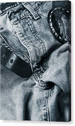 Jeans And Denim In Blue Canvas Print by Christian Lagereek