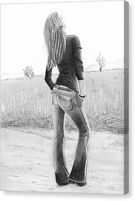 Canvas Print featuring the drawing Jeans by Denise Deiloh